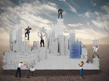 Business team together builds. In the desert Royalty Free Stock Photography