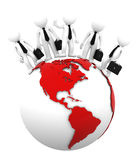 Business team on top of the globe. American side. Royalty Free Stock Photography
