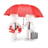 Business team with umbrella and life buoy Royalty Free Stock Photography