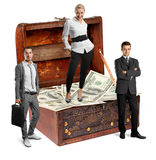 Business team and USA Dollars Royalty Free Stock Photography