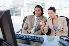 Business team using a computer Royalty Free Stock Photo
