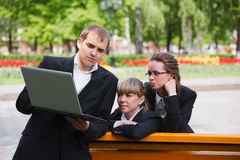 Business team using laptop Royalty Free Stock Photography