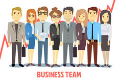 Business team vector concept with man and woman standing together. Teamwork cartoon. Business team vector concept with man and woman standing together. Teamwork Stock Images