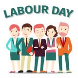 Labour Day poster people vector illustration on white. Business team, vector illustration. Labour Day poster with businessmen and women on white background Stock Illustration