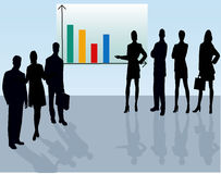 Business Team - vector silhouette. Illustration Royalty Free Stock Photo