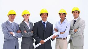 Business team wearing hardhats standing side by side Royalty Free Stock Photo