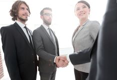Business team welcoming its investors. Business meetings stock photos