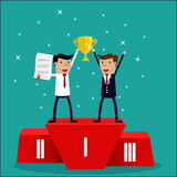 Business team winner standing in first place. Cartoon Businessman team  winner standing in first place on a podium holding up an award certificate and trophy as Royalty Free Stock Photography