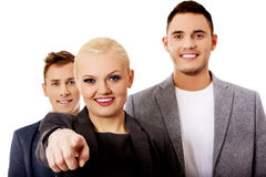 Business team-woman pointing at camera Royalty Free Stock Photography