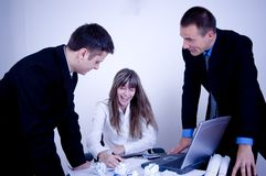 Business Team Work!. Happy business team at work Royalty Free Stock Image