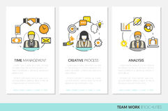Business Team Work Brochure Template with Line Art Thin Icons vector illustration