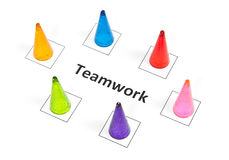 Business team work concept. With word and game pawn Stock Photography