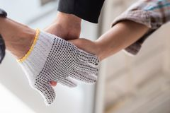 Business team work concept : business people hold hand together. Professional agreement partnership community ,selective focus Royalty Free Stock Photography