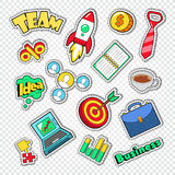 Business Team Work Doodle. Finance and Creative Idea Stickers, Badges and Patches. Vector illustration Stock Image