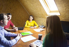 Business team at work with financial reports Stock Images