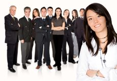 Business team work - girl leading Stock Photo