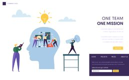 Business Team Work Together as Mechanism Landing Page. Businessman Leader Manager Challenge to Success Person Skill Goal. Leadership Idea Website Web Page vector illustration