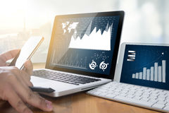 Business Team Workin economics and Graphs Interfaces market stoc Royalty Free Stock Photo