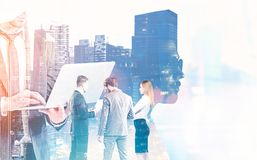 Business team working against cityscape background Royalty Free Stock Photography