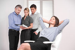 Business team working on blur background Stock Photography