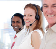 Business team working in a call center Stock Images