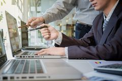 Business team working with computer, document graph in team Meet Royalty Free Stock Image
