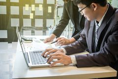 Business team working with computer, document graph in team Meet Stock Images