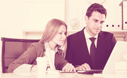 Business team working with computer Stock Photos