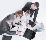 Business team working with financial documents in the office. royalty free stock photo