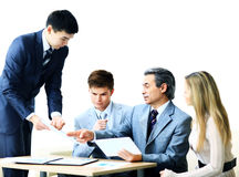 Business team working with financial documents at workplace Royalty Free Stock Photo