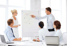 Business team working with flipchart in office Stock Photography