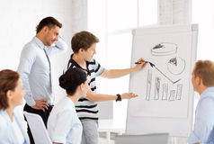 Business team working with flipchart in office Stock Images