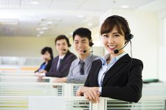 Business team working with headset Stock Photo