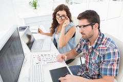 Business team working with laptop and digitizer Stock Photo