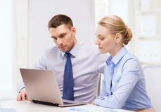 Business team working with laptop in office Royalty Free Stock Photo