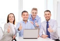 Business team working with laptop in office Royalty Free Stock Photography