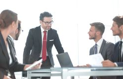 Business team at a working meeting in the office royalty free stock photography