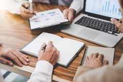 Business team working with new startup project plan and discussion information for financial strategy with laptop and digital tab. Let in a modern business royalty free stock photos