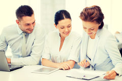 Business team working in office stock photography