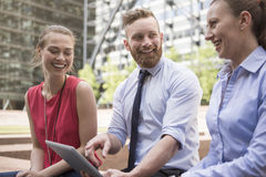 Business team working outdoors Stock Images
