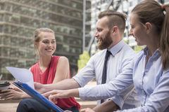 Business team working outdoors Royalty Free Stock Images