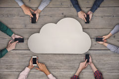 Business team working on smartphones. Cloud sharing wireless concept Stock Images