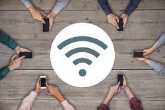 Business team working on smartphones. Global wireless concept Royalty Free Stock Photo
