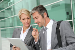 Business team working with tablet Royalty Free Stock Photos