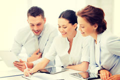 Business team working with tablet pcs royalty free stock images