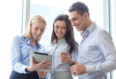 Business team working with tablet pcs in office Royalty Free Stock Photos