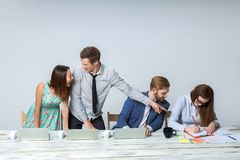 Business team working on their business project together at office Stock Images