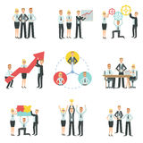 Business Team Working Together Achievement Process Infographic. Simple Childish Flat Colorful Illustration On White Background Royalty Free Stock Photography
