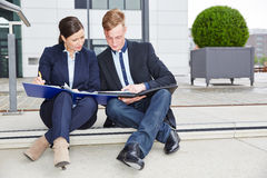 Business team working together on contract Stock Photo