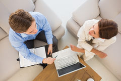 Business team working together on the couch Stock Photo